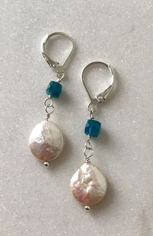 white pearl coin dangle earrings with square blue apatite gemstone beads