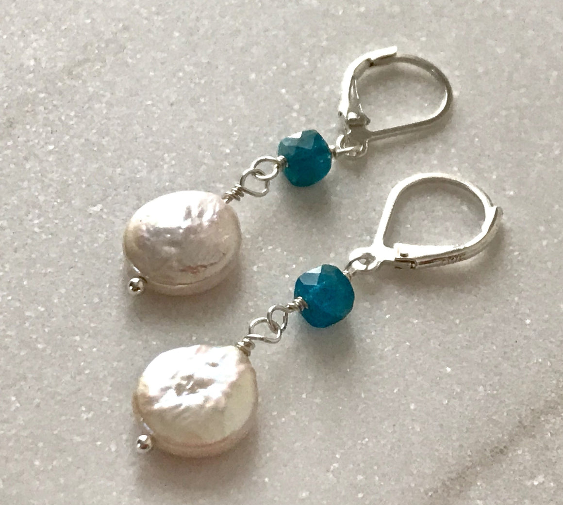 white pearl coin dangle leverback earrings with square blue apatite gemstone beads