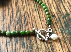 Green Turquoise Bracelet with Silver Floral Link ,Toggle Clasp and Pearl Charm