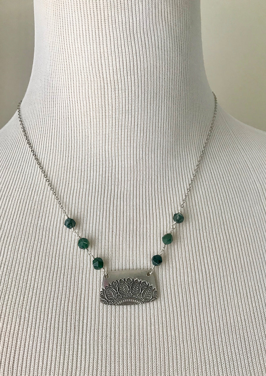 leaf mandala pendant necklace with green moss agate beads on silver chain
