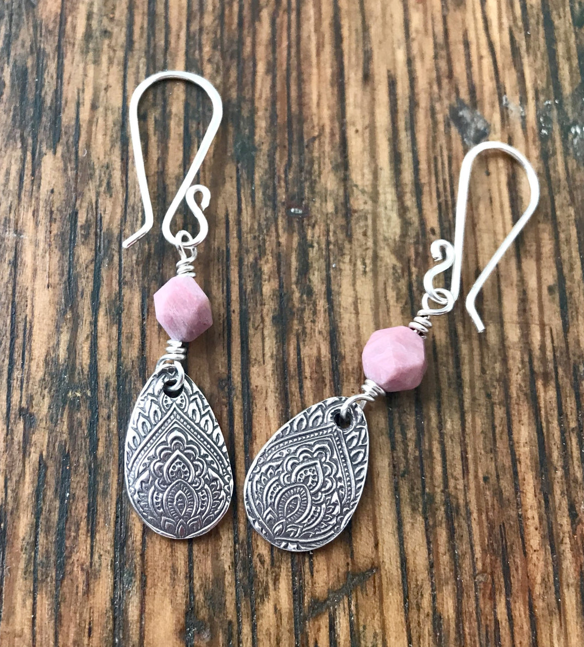 silver teardrop dangle earrings with pink rhodonite gemstone links