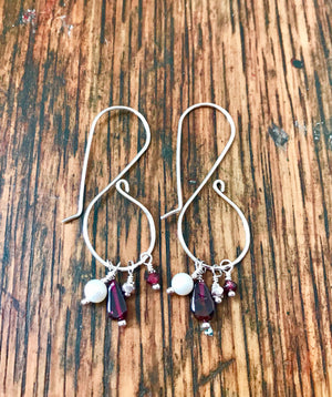 long fancy sterling silver ear wires with colorful gemstone drops