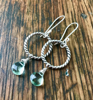 sterling silver rope ring dangle earrings with faceted green fluorite gemstone drops