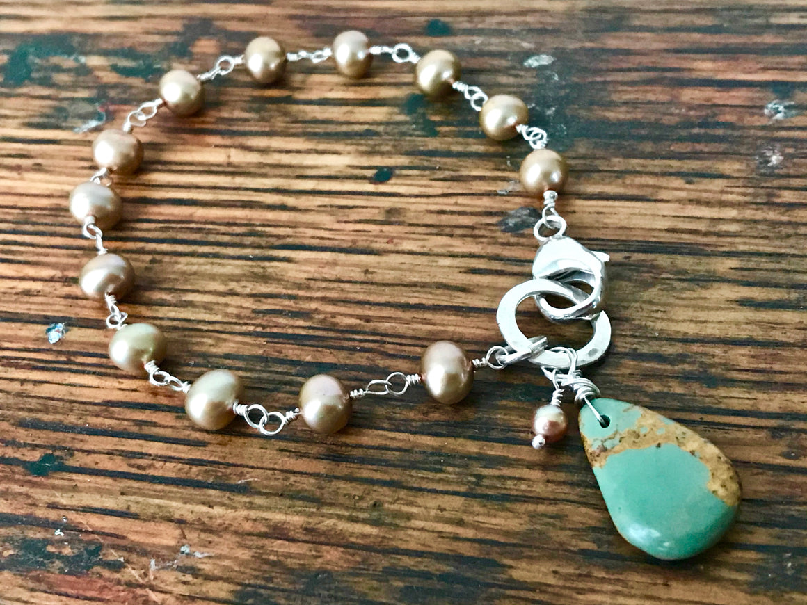 beige pearl sterling silver wire wrapped rosary chain bracelet with blue turquoise charm