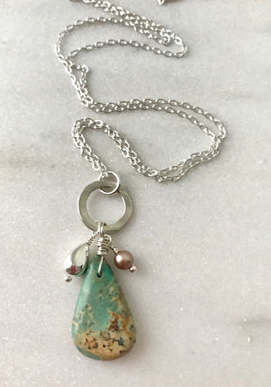 sterling silver chain necklace with blue green turquoise and beige freshwater pearl and silver teardrop charms