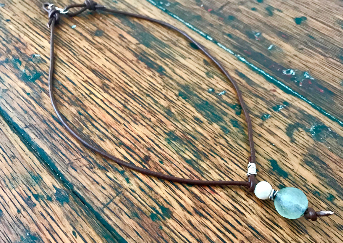 brown leather lariat necklace with green fluorite, freshwater pearl and sterling silver pendant
