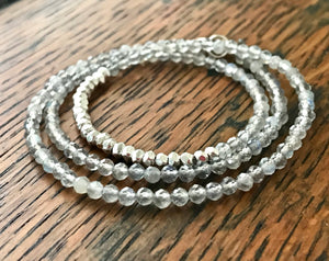 small faceted gray labradorite gemstone necklace with faceted small sterling silver beads