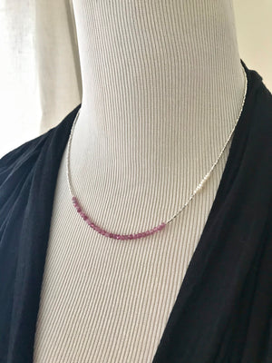 tiny silver bead necklace with small pink tourmaline and small freshwater pearls