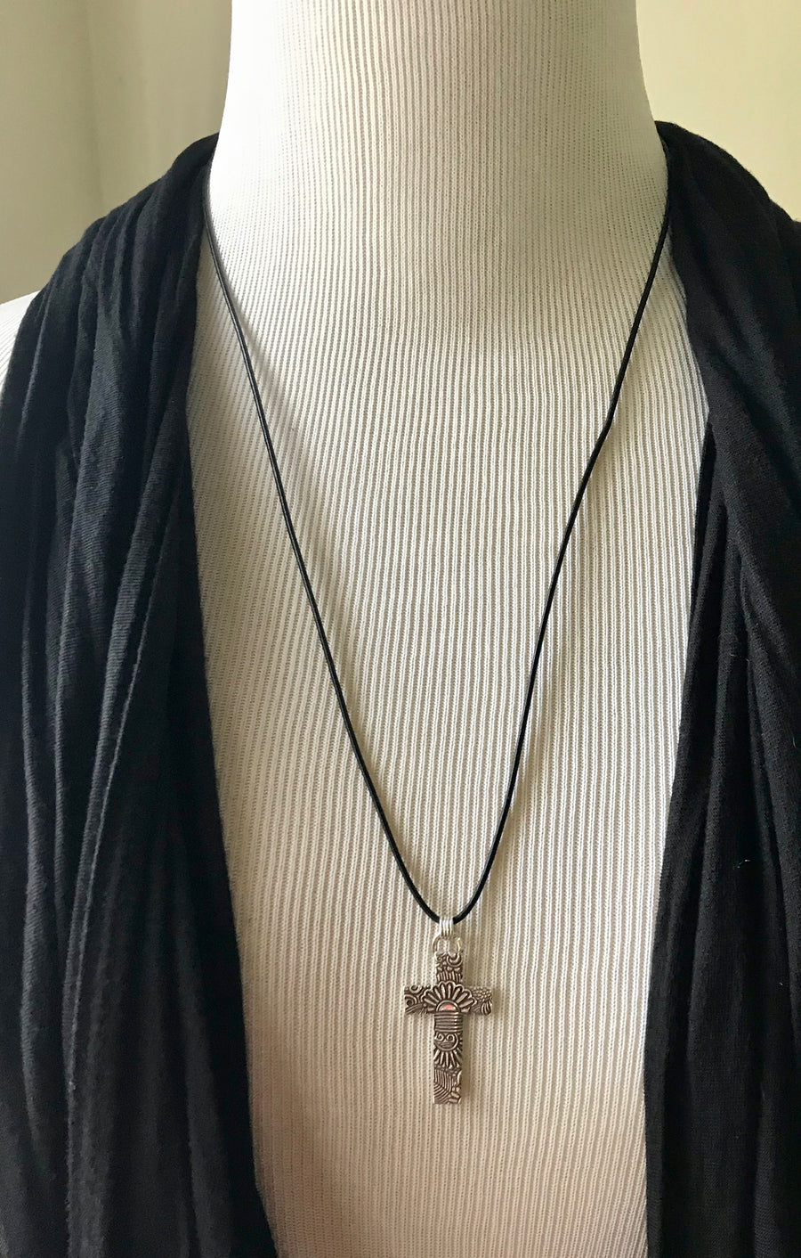 Large Silver Adjustable Length Sunrise Cross on Black Leather Cord