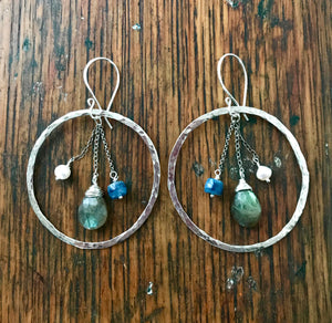Large Sterling Silver Hoop Earrings with Labradorite, Blue Kyanite and White Pearl Gemstone Dangles