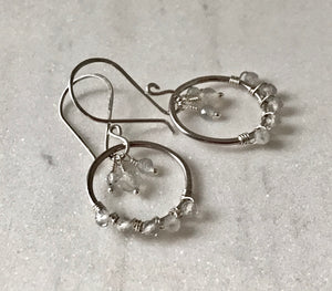 silver circular dangle hoops wire wrapped with faceted labradorite gemstones with labradorite charms