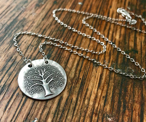 large embossed sterling silver flowering tree of life pendant necklace