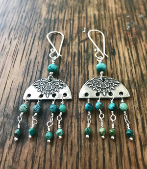 silver bohemian style half-moon chandelier earrings with blue turquoise drops