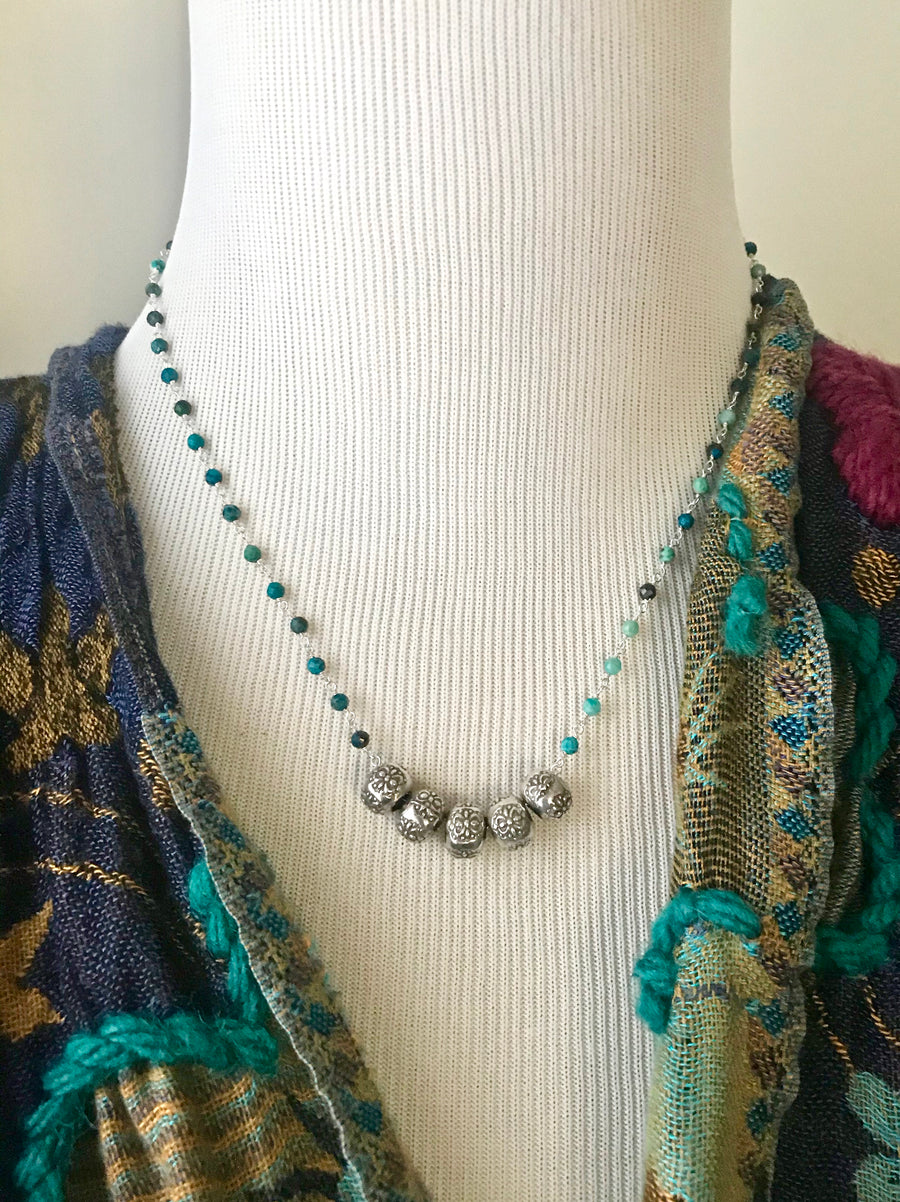 blue chrysocolla gemstone rosary chain necklace with sterling silver thai beads