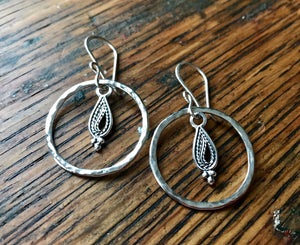 Large Sterling Silver Hammered Ring Dangle Earrings with Paisley Drops