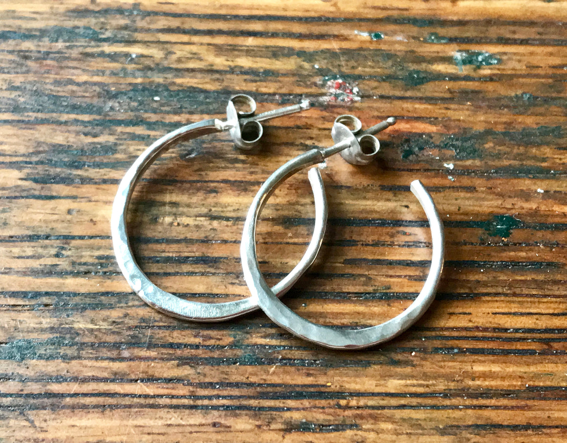 Hand Forged Hammered Sterling Silver Post Hoop Earrings
