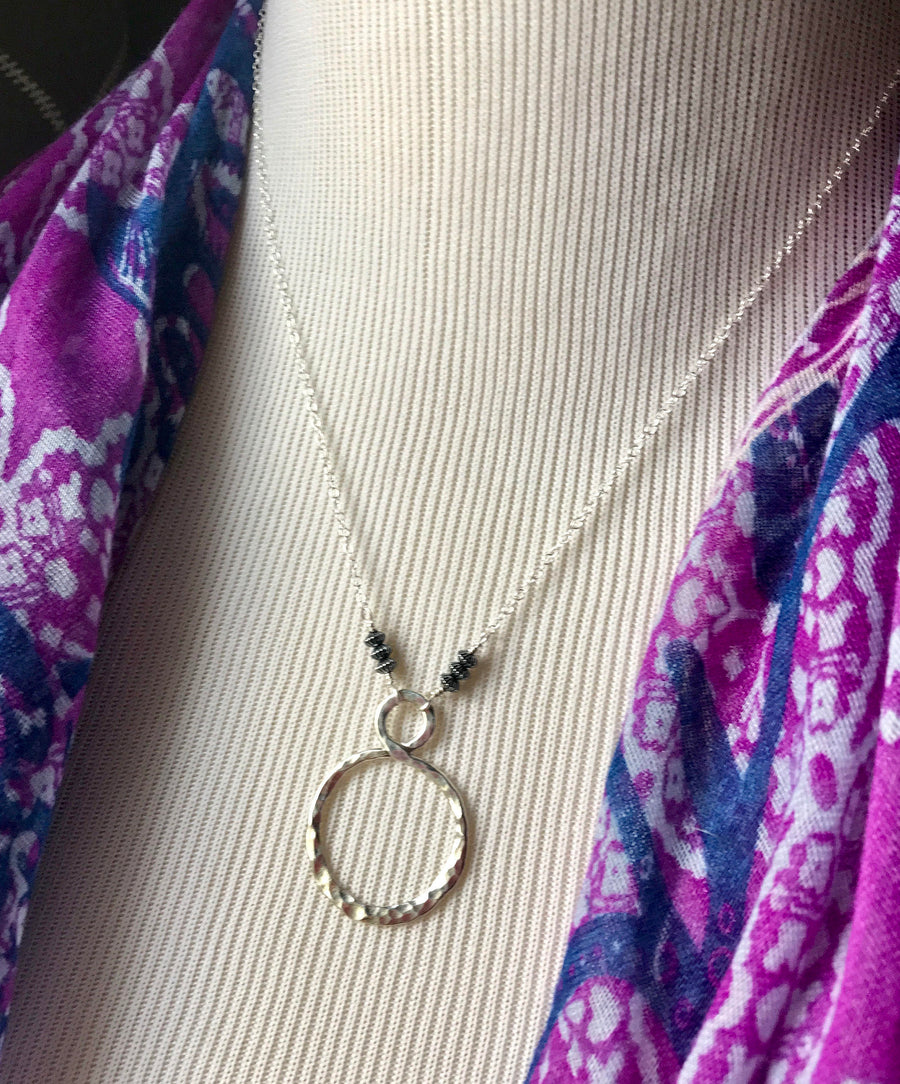 Large Sterling Silver Hand Forged Hammered Infinity Pendant Necklace on Sterling Silver Chain