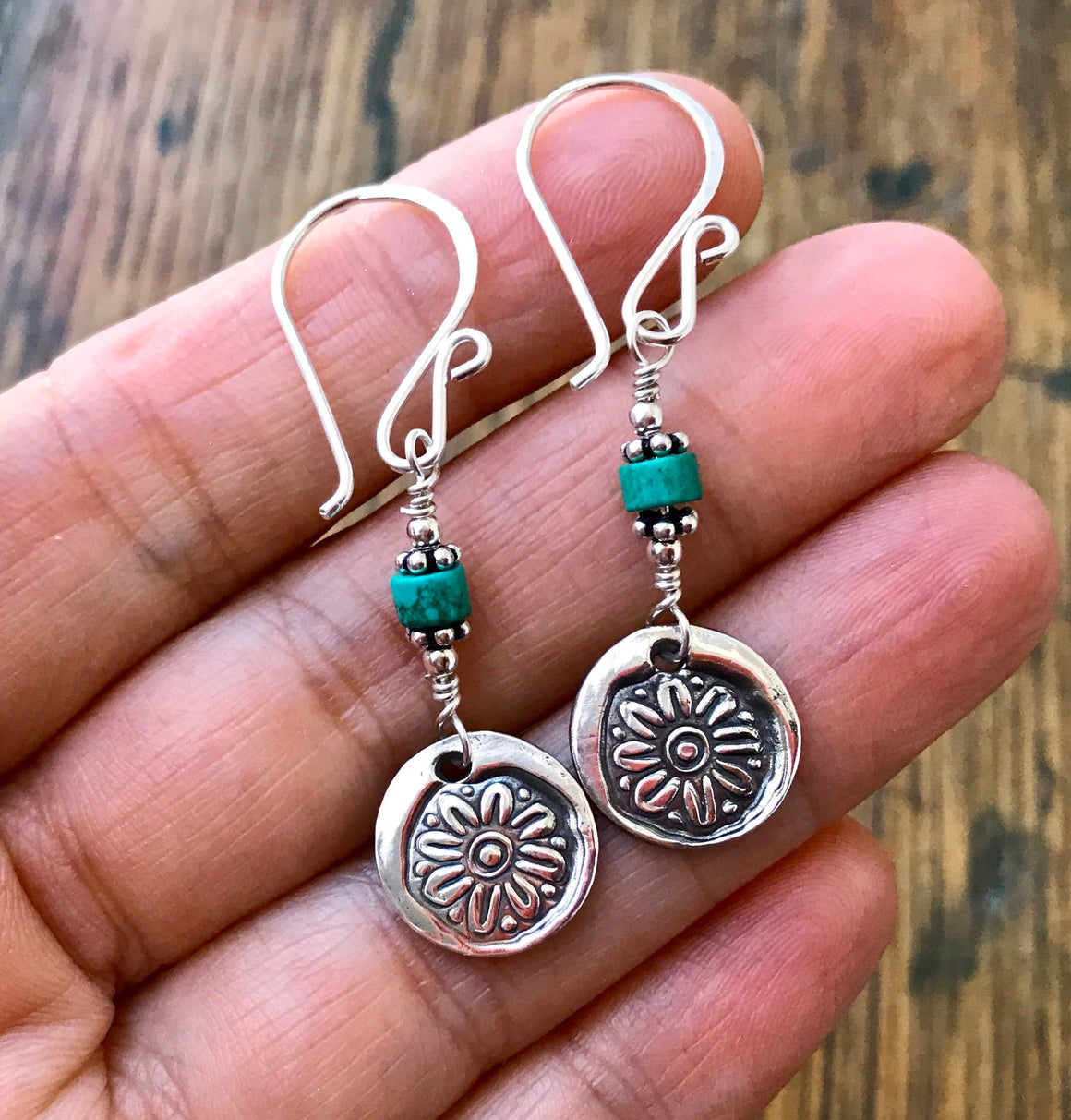 Blue Turquoise and Silver Dangle Earrings with Circular Silver Flower Charms