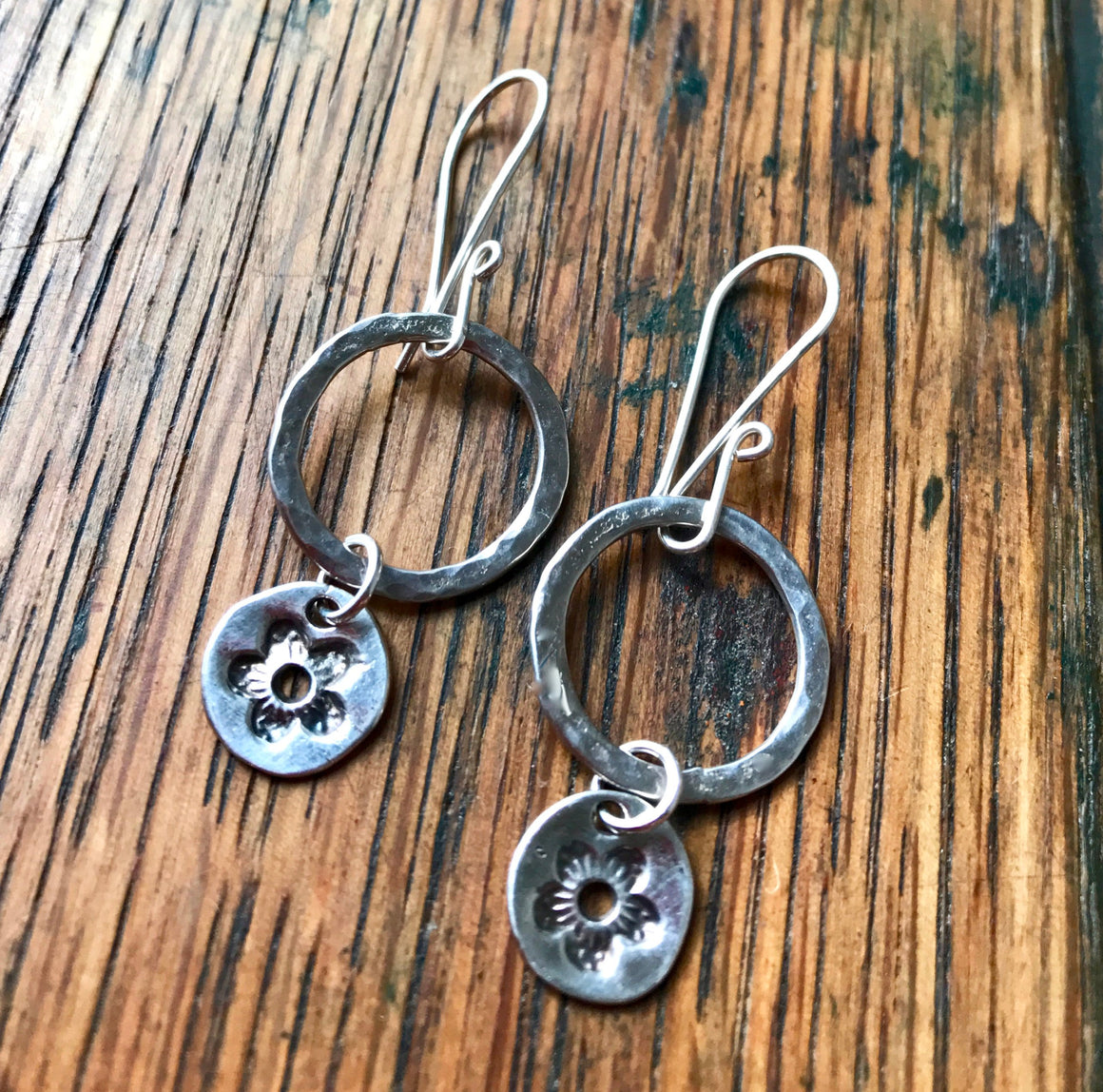 Sterling Silver Hammered Ring Earrings with Circular Silver Flower Dangles