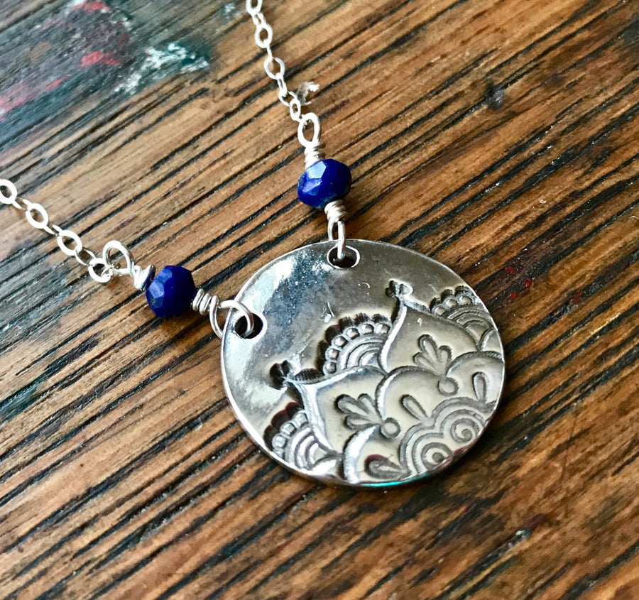 Silver Circular Mehndhi Medallion Pendant with Faceted Blue Lapis Beads on Sterling Silver Chain