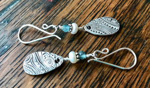 Silver Ocean Inspired Teardrop Dangle Earrings with White Freshwater Pearls and Blue Quartz Gemstone Beads