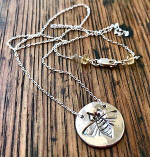 Fine Silver Embossed Bee Necklace on Sterling Silver Chain with Citrine Gemstone Accents