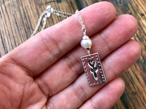 Rectangle Flower Pendant with White Freshwater Pearl on Sterling Silver Chain