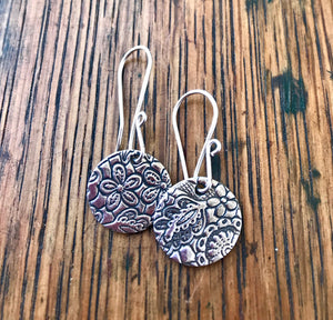 Embossed Silver Circular Paisley and Floral Dangle Earrings