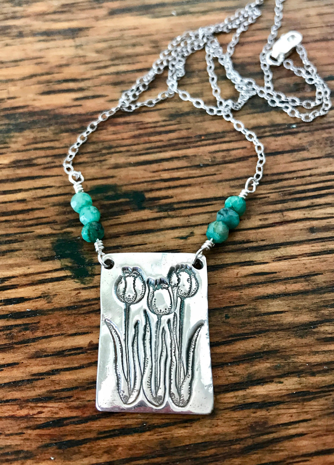 Silver Embossed Tulip Pendant Necklace with Green Emerald Gemstone Beads on Textured Sterling Silver Chain