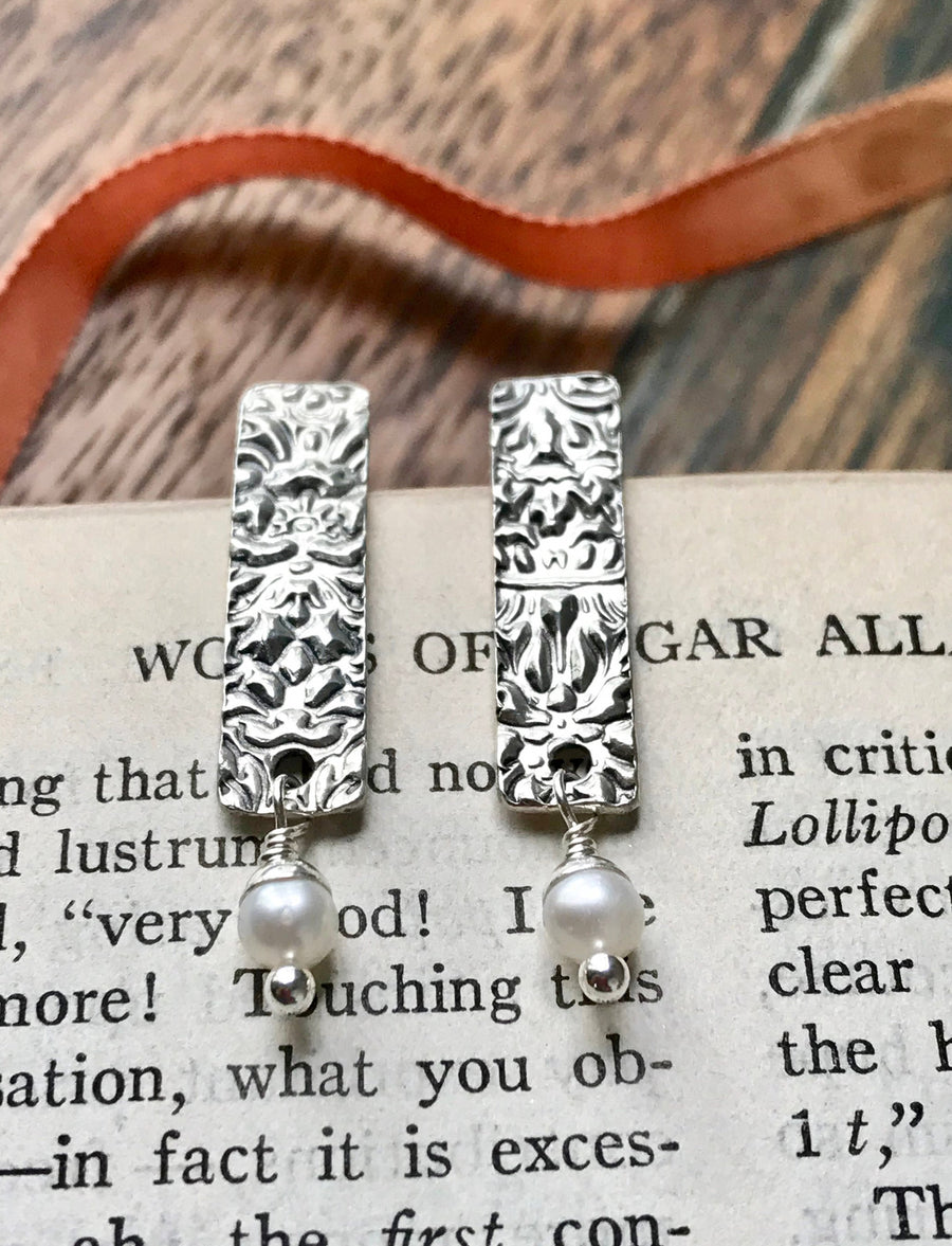 Silver Textured Rectangular Tab Post Earrings with a Freshwater Pearl Drop