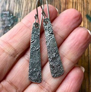Long Narrow Rectangular Silver Earrings Embossed with Flowers and Paisley