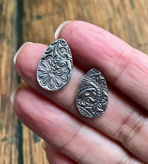 Embossed Silver Teardrop Paisley Post Earrings
