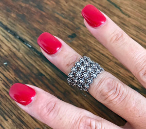 Sterling Silver Bali Flower Band Ring