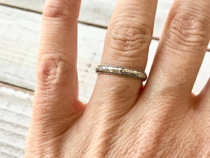 Oxidized Sterling Silver Patterned Band Stacking Ring