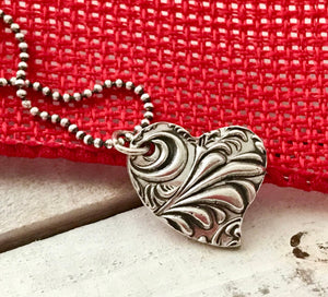 Small Embossed Silver Antiqued Silver Heart Pendant Necklace on Silver Ball Chain