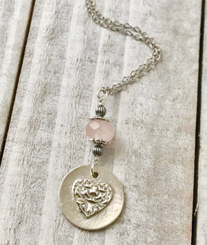 Silver Heart Pendant Necklace with Rose Quartz Gemstone on Sterling Silver Chain