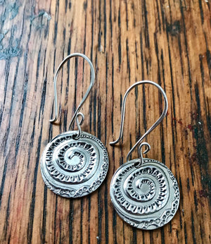 Silver Large Circular Funky Swirl Dangle Earrings