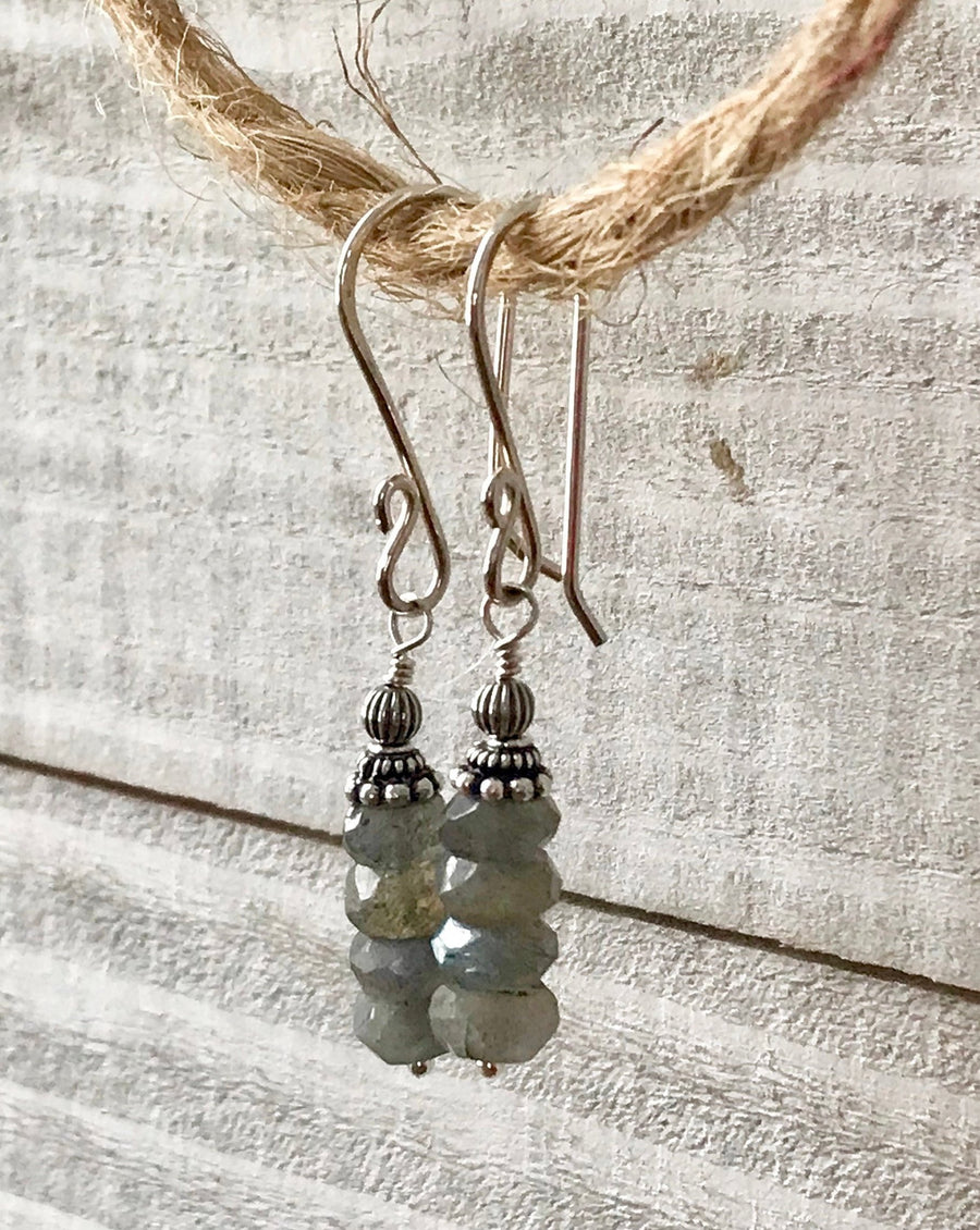 Stacked Faceted Labradorite Rondelle and Sterling Silver Dangle Earrings