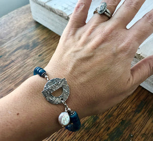 Blue Kyanite and Silver Toggle Bracelet with White Pearl Coin Charm