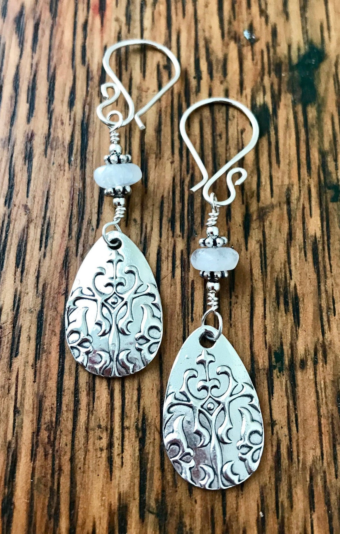 Moonstone and Embossed Scrollwork Sterling Silver Teardrop Dangle Earrings