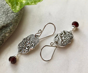 Silver Arabesque Flower and Swirl Dangle Earrings with Red Garnet Gemstones and Freshwater Pearls