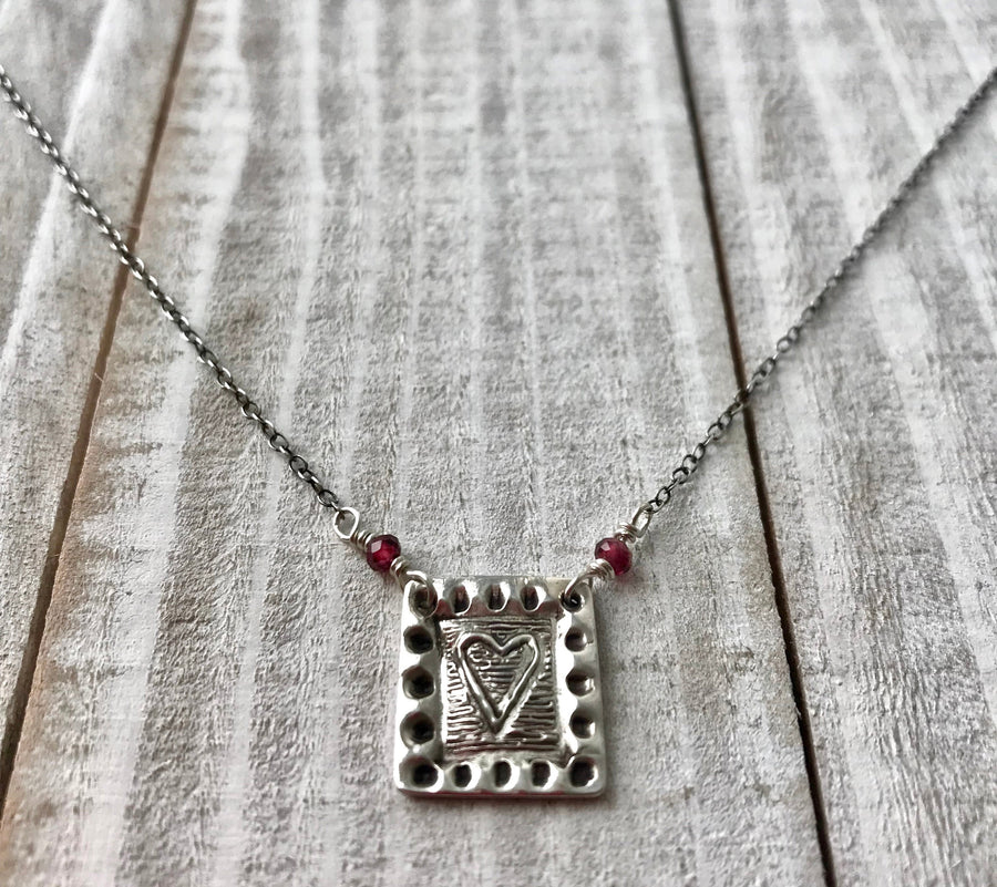 Silver Small Square Framed Heart Pendant with Red Garnets on sterling silver chain