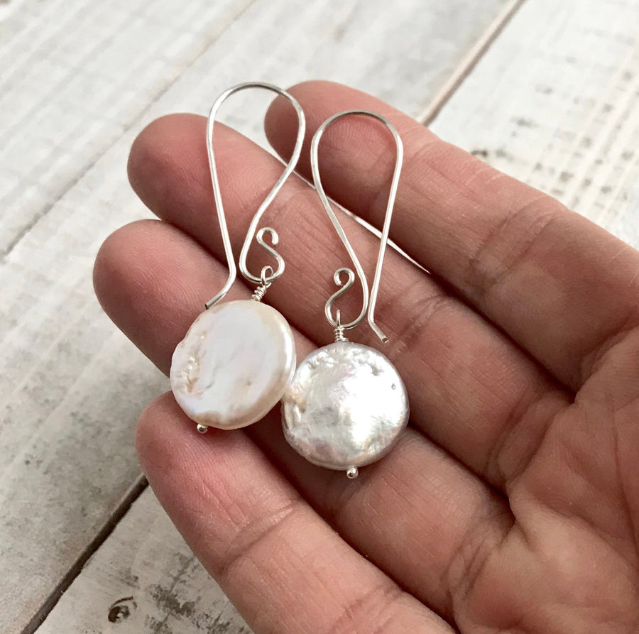 Large White Freshwater Pearl Coins on Long Hand Forged Silver Ear Wires