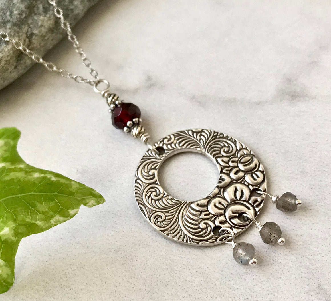 Silver Flower and Swirl Circle Go-Go Donut Pendant with Garnet and Labradorite on Chain