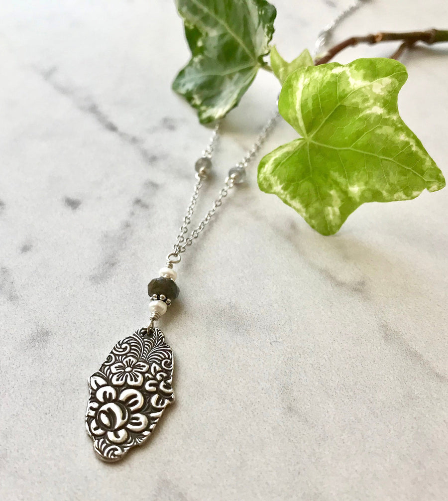 Silver Floral Hamsa Pendant Necklace with Labradorite and Freshwater Pearl on Sterling Silver Chain