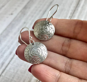 Domed Embossed Silver Filigree Circle Medallion Dangle Earrings