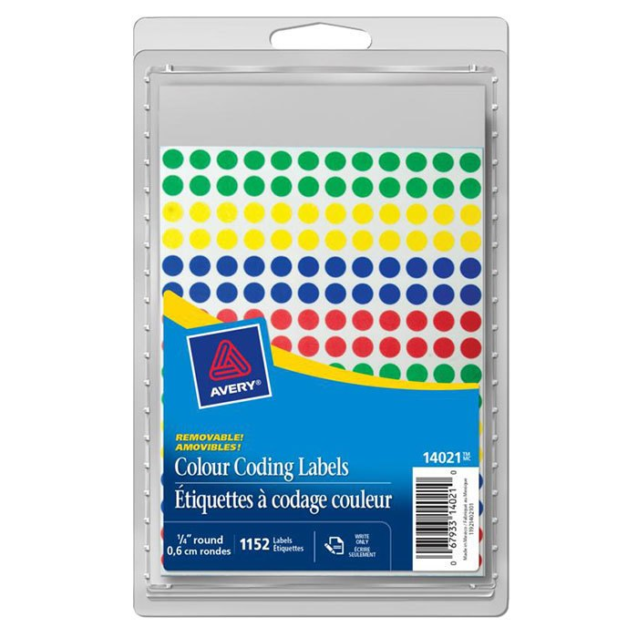 "Colour Coding Labels ¼"" Round - 1152Pk"