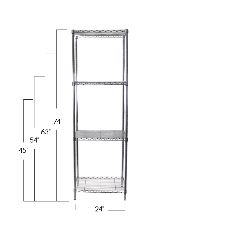 Chrome Adjustable 4 Shelf Kit - 18 x 24 Inches