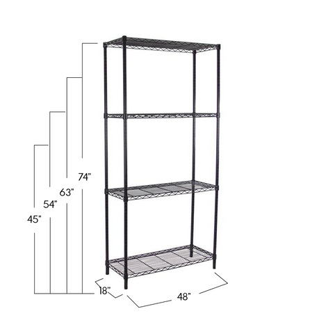Black Adjustable 4 Shelf Kit - 18 x 48 Inches