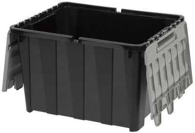 Wing Lid Tote 45 Liter - 12 Gallon Black With Grey Lid
